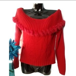 CABO Red Faux Fur Off The Shoulder Waist Sweater